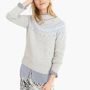 J. Crew jeweled embellished Fair Isle wool sweater